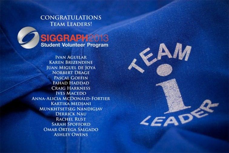 Siggraph 2013 - Student Volunteer